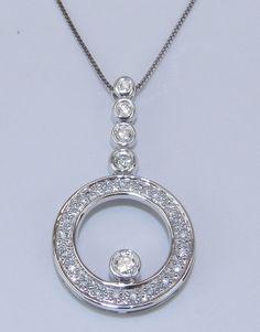 14K White Gold Unique Diamond Circle Pendant by GalaxyGems on Etsy, $479.00