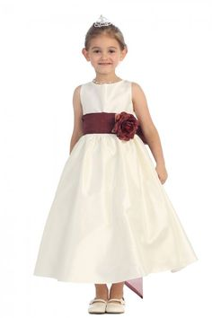322207239eb Ivory Burgundy Flowers and Sash Flower Girl Dress