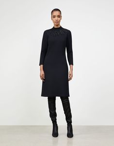 $998.0. LAFAYETTE 148 Dress Petite Nouveau Crepe Embellished Adira Dress #lafayette148 #dress #knit #wool #clothing Target Dresses, Lafayette 148, Petite Dresses, Petite Size, Striped Tee, Dress For You, Your Style, Fitness Models, Pure Products