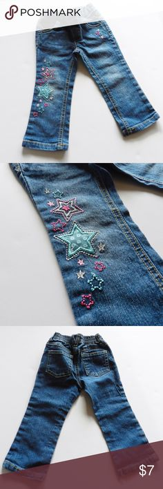 [Healthtex] Embroidered Jeans [18M] Medium wash denim embroidered jeans with cute stars! VGUC, slight wear at knees. Size 18M with elastic waistband, snap closure and no zipper. Healthtex Bottoms Jeans
