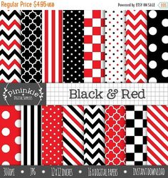 50% SALE Black and Red Digital Paper Scrapbooking by Pininkie