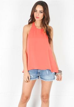 Chelsea Flower Hi Neck Halter Top in Coral  $233