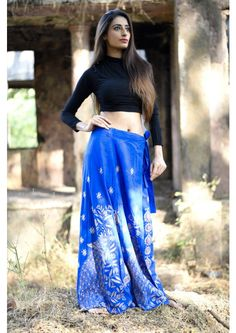 Blue Kantha Stitch  Handloom Cotton Wrap around Skirt