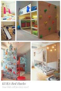 Check out these KURA bed hacks and then get yourself down to IKEA to pick one up because your kids will go crazy over these bed hacks and makeovers! Climbing Wall Holds, Murphy Bed Kits, Toddler Room Decor, Wendy House, Kura Bed, Bed Tent, Ikea Kids, Diy Bed, Cool Beds