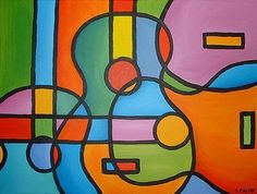 Abstract Guitar painting | This is an original painting on canvas stretched over a solid wood ...