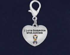 I Love Someone With Autism Hanging Charms. Each charm is approximately 1 inch by 1 inch. Packaged 25 hanging charms per pack. Product Code: HC-97-2