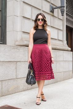 j crew perforated midi skirt outfit via @mystylevita [My Style Vita]