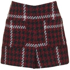 TOPSHOP Premium Boucle Shorts ($58) ❤ liked on Polyvore featuring shorts, skirts, topshop, burgundy, topshop shorts, burgundy shorts and checkered shorts
