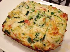 Yummy Lean and Green Veggie Quiche!  (adapted from Sandy's Kitchen Vegetable Quiche) Makes 1 serving 2 Light Queso Fresco & Chipotle Laughing Cow Wedges (1 Healthy Fat) ½ c Part-skim, low moisture, 2% shredded Mozzarella Cheese (1/2 Lean) 1 c Egg Beaters (1/2 Lean) ½ c Scallions (1 Green) ½ c Zucchini (1 Green) ½ c Tomatoes (1 Green) ½  tsp Pepper (1 condiment) ¼ tsp Salt (1 condiment) Lightly coat a square baking dish with Pam and add all of the ingredients. Bake at 375 for 40 minutes…