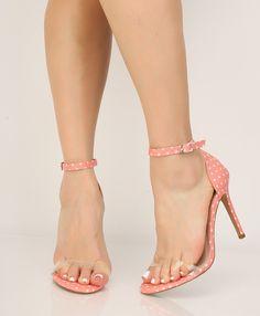 huge discount c4c6b 71777 Blush Polka Dot Clear Open Toe Single Sole High Heels