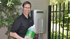 Your fancy Tankless Water Heater needs maintenance, and if you neglect this annual flush you may be destained for trouble. See this 5 minute video on how to do a vinegar flush to remove calcium deposits from your tankless unit's boiler. 5 Gallon Buckets, Home Repairs, Diy Cleaning Products, Home Hacks, How To Know, Plumbing, Building A House, Home Improvement, House Ideas