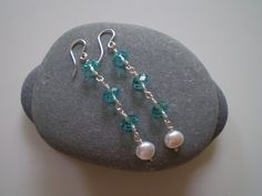 Blue Swarovski Rondelles with White Freshwater Pearl by FMBdesigns, $65.00