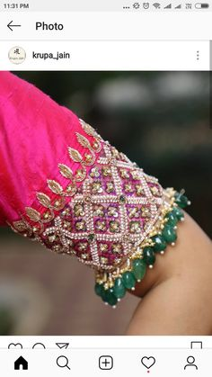 Latest Jeweled Blouse designs for 2019 Jeweled Blouse designs for Sarees Jeweled Blouses are trendy nowadays with a lot of creativity hitting this year. I have already posted different var… Pattu Saree Blouse Designs, Fancy Blouse Designs, Wedding Saree Blouse Designs, Blouse Neck Designs, Blouse Designs Embroidery, Latest Blouse Designs, Latest Embroidery Designs, Sari Blouse, Blouse Patterns