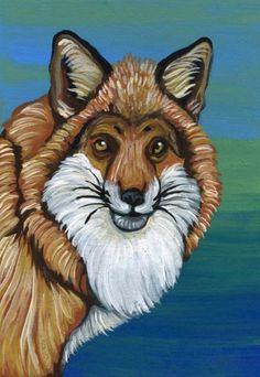 ACEO ATC Red Fox Wildlife Art Original Painting-Carla Smale #Realism