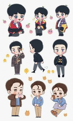 Exo Stickers, Cute Stickers, Printable Stickers, Exo Anime, Anime Chibi, Exo Kokobop, Baekhyun, Exo Cartoon, Exo Chanbaek