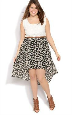plus size high low dress with color block skirt and exposed zip ...