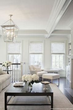 Just look at all the beautiful white!!!!  #whitedecor #whitedesign  Lovely roman shades coordinate perfectly.  #romanshades