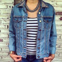 Vintage Hand Studded Jean Jacket / Reworked Denim Jacket Size: