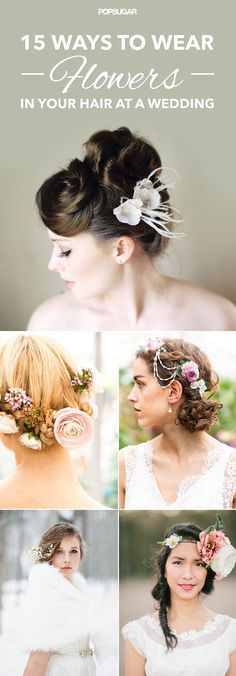 Inspiration for wearing flowers in your hair for a wedding. Whether you stick a few buds in your updo or crown yourself with a floral wreath, these looks work for brides, bridesmaids, and guests!