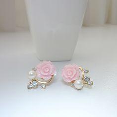 Pink rose #goldplated #earrings   C$16.99    https://www.ibrightenshop.com/store/p6/Pink_rose_gold_-plated_earrings.html