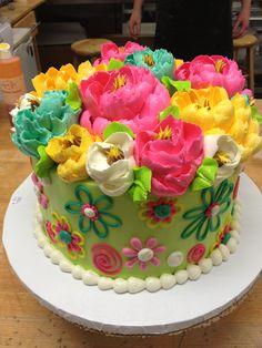 Vibrant all buttercream cake by The White Flower Cake Shoppe