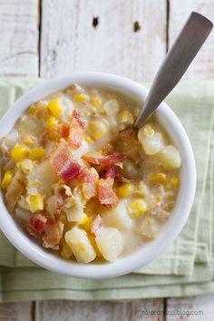 Recipe for mom's crock pot corn chowder. My very favorite corn chowder recipe!