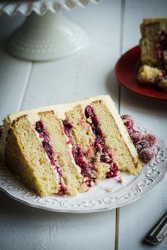 Christmas White Chocolate Cranberry Layer Cake
