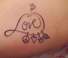 Tatoo Love paz amor rei/rainha trevo