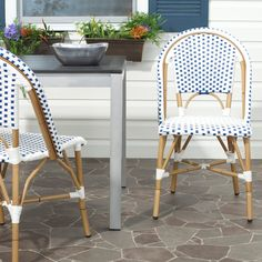 Safavieh Rural Woven Dining Salcha Blue/ White Indoor Outdoor Stackable Side Chairs (Set of - 15820414 - Overstock - Great Deals on Safavieh Dining Chairs - Mobile Patio Rocking Chairs, Wicker Chairs, Outdoor Dining Chairs, Patio Chairs, Side Chairs, Outdoor Living, Room Chairs, Pergola Patio, Pergola Plans