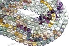 Multi Fluorite Smooth Coin (Quality B) (Pack of 6 Strands) / 7.5 to 8.5 mm / 19 to 21 Grms / 36 cm / FL-003 by GemstoneWholesaler on Etsy