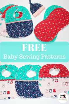 Free Easy Baby Sewing Patterns & Instructions Bib, burp cloth & hatThree free baby sewing patterns for easy sewing. Top knot baby hat, flannel burp cloth and easy bib tutorial. Baby Hat Patterns, Sewing Patterns Free, Burp Cloth Patterns, Clothes Patterns, Sewing Clothes, Burp Cloth Tutorial, Bib Tutorial, Tutorial Sewing, Baby Burp Cloths