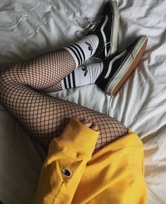 #indie #aesthetic #grunge #outfit #tumblr #girl #shoes #fashion  https://weheartit.com/entry/324168113 Vans Socks, Color Yellow, Yellow Theme, Yellow Black, Net Fashion, Grunge Fashion, Womens Fashion, Fall Fashion, Fish Nets