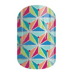 Kite Tail | Jamberry | Featuring an intricate kite-like design in rainbow hues and outlined in silver, the sparkle-finish 'Kite Tail' is sure to make an impact.