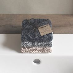 3 Hand Knitted 100% Cotton Wash Cloths