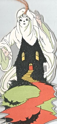 Vintage Halloween bridge tally ghost haunted house digital download printable image 300 dpi