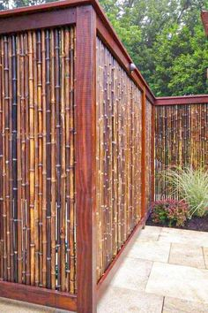 Want garden fence ideas with garden art ideas? These fence decorations are great ways to dress up your outdoor space. If you'd like specific ideas for privacy fences, I've got a collection of 70 Gorgeous Backyard Privacy Fence Decor Ideas on . Bamboo Privacy Fence, Backyard Privacy, Privacy Fences, Backyard Fences, Fenced In Yard, Garden Privacy, Pool Fence, Privacy Screens, Outdoor Privacy