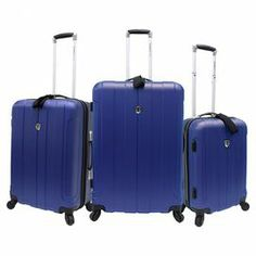 Whether you're packing for the whole family or taking a solo weekend sojourn, this set of rolling luggage is ideal for all your travels. Showcasing hard-shell exteriors and ample storage, these versatile designs come in 3 sizes to accommodate all your essentials.     Product: Small, medium and large suitcaseConstruction Material: Polycarbonate ABS, polyester and aluminumColor: BlueFeatures:  Four multi-direction spinner wheel system Multiple-stage, self-locking retractable handle system ...