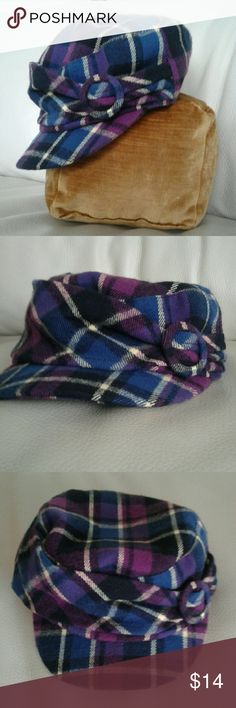 Newsboy Cap in blue/purple tartan Smaller cap for ladies or juniors. Plaid pattern in blues, purples, black and butter yellow. Hidden elastic.  So versatile,  This cap looks fab with blacks for a pop of color, or with denim to bring out the blues. Excellent condition. Accessories Hats