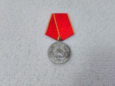 Vintage Romanian/Romania Distinguished Service in Work Medal Pin Badge Military Surplus, Soviet Union, Pin Badges, Romania, Ribbon, Drop Earrings, Ebay, Vintage, Tape