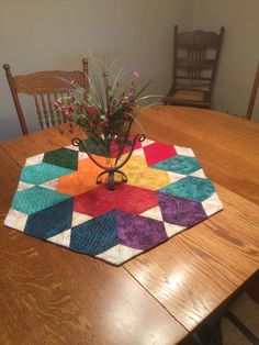 This multicolored table topper measures 29 inches from side to side. All the rainbow colors and different shades of aqua are in this topper. It would look beautiful on any table with fresh cut flowers. It could be the focal point for any dinning room or kitchen.