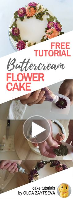 HOT CAKE TRENDS How to make Buttercream Autumnal Wreath Cake - Cake decorating tutorial by Olga Zaytseva. Learn how to make buttercream pumpkins, pipe zinnias and snowberry and create this Autumnal pumpkin floral wreath cake.