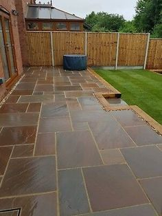 Browse images of black modern Garden designs: GALAXY SANDSTONE PAVING. Find the best photos for ideas & inspiration to create your perfect home. Sandstone Paving Slabs, Paving Stone Patio, Patio Slabs, Bluestone Patio, Landscaping Retaining Walls, Home Landscaping, Garden Slabs, Garden Paving, Terrace Garden