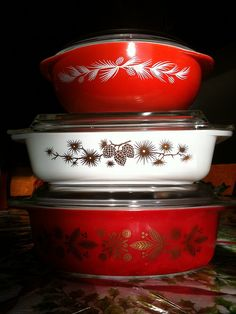 Holiday Pyrex! - Golden Pine, Golden Poinsettia, and of course, Holiday.