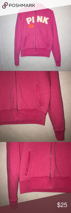 M - PINK By VS Graphic Full Zip Jacket Brand: vs Victoria's Secret PINK Size: medium  Condition: Good GUC   Details: Pinj with cream and orange graphic logo pink and 86 on front with dog logo on back. Full zip and full length sleeve. Jacket/sweatshirt/sweater. Older style but still very well made.   Priced with negotiation in mind, feel free to make an offer.   LIKE to receive a 10% discount plus $4.99 ship. Bundle to receive a better deal. FOLLOW Me for future listings, & SHARE for return…