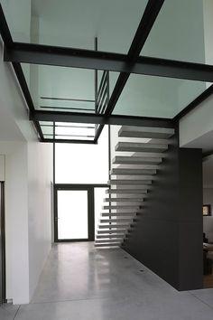 Yves Deneyer - Menuiserie métallique - Ferronnerie Escalier Design, Steel Stairs, Stair Design, Glass Floor, Decoration, Blinds, Curtains, Flooring, Future