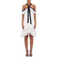 Proenza Schouler Women's Off-The-Shoulder Halter Tie-Neck Dress (€1.085) ❤ liked on Polyvore featuring dresses, white, white halter top dress, white halter top, white halter neck dress, tie neck halter top and white off shoulder dress