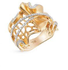 Золотое кольцо с бриллиантами SUNLIGHT: жёлтое золото 585 пробы, бриллиант — купить в интернет-магазине Санлайт, фото, артикул 14840