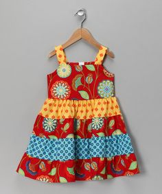 Take a look at this Red & Blue Tiered Dress - Toddler & Girls by Moo Boo's on #zulily today!