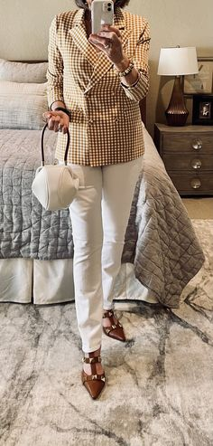 Preppy Style, Classic Style, White Jeans, Camel, Personal Style, Style Inspiration, Bag, Check, Pants