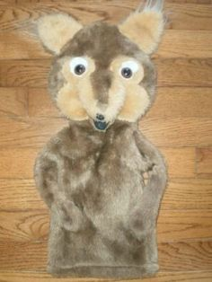 "VINTAGE! FOX PUPPET plush 20"" BROWN soft STUFFED TOY teaching aid DRAMATIC PLAY"
